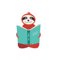cute funny sloth reads book vector image vector image
