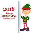 elf showing on placard with greetings vector image