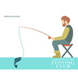 fishing banner design with fisherman fish and vector image vector image