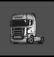 flat cabin truck black grey vector image vector image