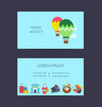 flat travel elements business card template vector image