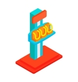 Free fall tower isometric 3d icon vector image vector image