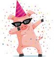 funny party pig dabbing cartoon vector image vector image