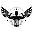 gym and fitness logo template retro stylized vector image vector image
