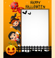 halloween sign with little girl witch and little b vector image vector image