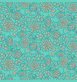 handdrawn flower dense turquoise line seamless vector image vector image