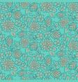Handdrawn flower dense turquoise line seamless