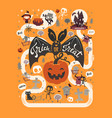 happy halloween flyer template in a flat style vector image vector image
