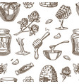 honey beekeeping sketch pattern background vector image vector image