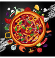 italian pizza ingredients on dark backround top vector image