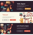 Japan travel banners set with landmarks famous vector image vector image
