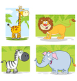 Jungle Animals With Background Collection Set vector image