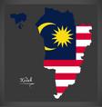 kedah malaysia map with malaysian national flag vector image vector image