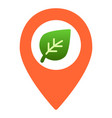 map pointer with leaf flat icon sprout location vector image