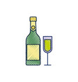 merry christmas bottle champagne and glass vector image vector image