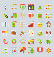 merry christmas icon set 3 flat design vector image