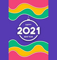 new year 2021 colorful wave ornament card vector image