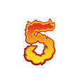 number 5 fire flames font five tattoo alphabet vector image vector image