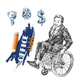 person on wheelchair vector image vector image