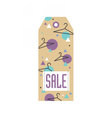 Sale tag with hangers and geometric pattern vector image vector image
