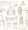 Seamless pattern with doodle sketch furniture vector image vector image