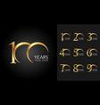 set anniversary badges golden anniversary vector image
