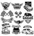 set car service station emblems and design vector image vector image