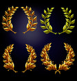 set golden laurel wreaths vector image