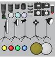 Set of photo studio equipment light soft camera vector image