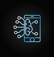 smartphone with brain colored outline icon vector image vector image