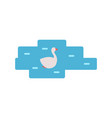 swan swimming in pond cartoon icon emblem vector image vector image