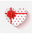 white gift box for valentines day heart box with vector image