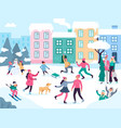winter city activities snow outdoors people vector image vector image