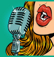 woman vintage retro microphone music standup vector image