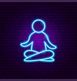 yoga relax pose neon sign vector image vector image