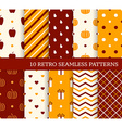 10 retro different seamless patterns Autumn theme vector image vector image