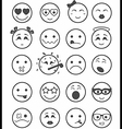 20 smiles icons set child black and white vector image