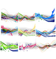 abstract rainbow wave line set vector image vector image