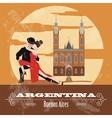 Argentina landmarks Retro styled image vector image vector image