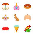 asian circus icons set cartoon style vector image vector image