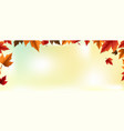 autumn banner with colorful leaves blur background vector image