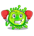 boxing character microbe bacterium on the palm vector image