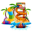 boy and girl playing water slide vector image