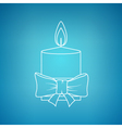 Christmas Festive Candle on a Blue Background vector image