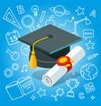 college university diploma graduate certificate vector image