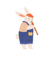 cute little hare playing fife funny romantic vector image