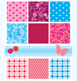 fabric textures in pink and blue colors - seamless vector image vector image