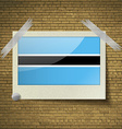 Flags Botswana at frame on a brick background vector image