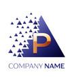 golden letter p logo symbol in blue pixel triangle vector image