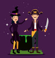halloween card with pirate disguise and witch vector image
